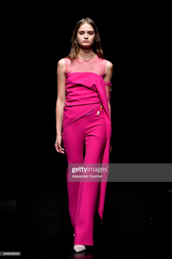 A model walks the runway at the Umit Kutluk show during Mercedes-Benz Istanbul Fashion Week September 2017 at Zorlu Center on September 13, 2017 in Istanbul, Turkey.