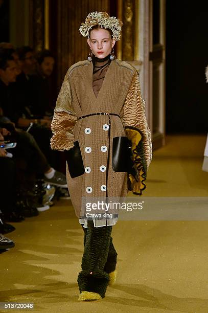 Model walks the runway at the Undercover Autumn Winter 2016 fashion show during Paris Fashion Week on March 4, 2016 in Paris, France.