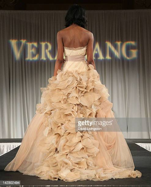 A model walks the runway at the Unveiled Bridal Style Revealed fashion show featuring the Vera Wang 2012 bridal collection at Montage Beverly Hills...