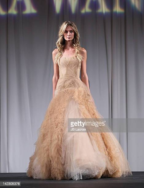 A model walks the runway at the 'Unveiled Bridal Style Revealed' fashion show featuring the Vera Wang 2012 bridal collection at Beverly Canon Gardens...