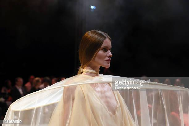 A model walks the runway at the Urun show during the MercedesBenz Istanbul Fashion Week on September 11 2018 in Istanbul Turkey