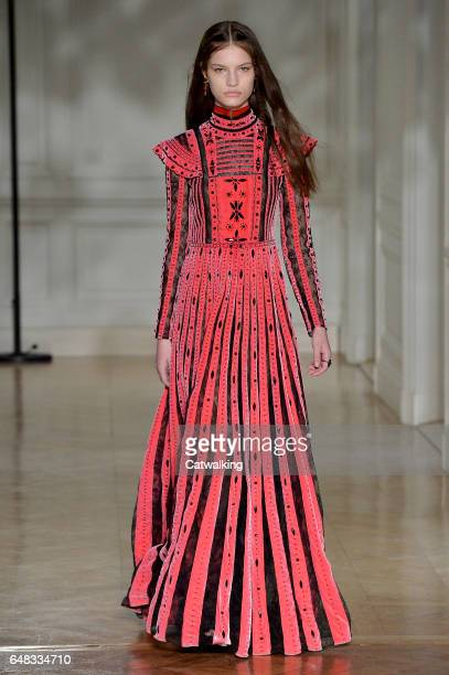 Model walks the runway at the Valentino Autumn Winter 2017 fashion show during Paris Fashion Week on March 5, 2017 in Paris, France.