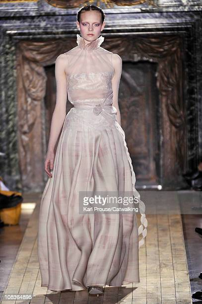 A model walks the runway at the Valentino fashion show during Paris Haute Couture Fashion Week on January 26 2011 in Paris France