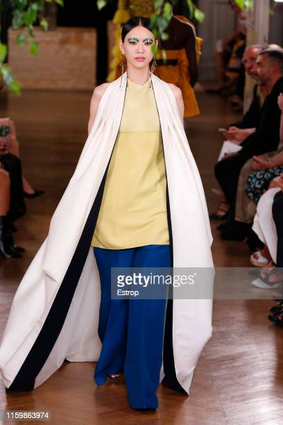 Model walks the runway at the Valentino show during Paris Haute Couture Fall/Winter 2019/2020 on July 3, 2019 in Paris, France.