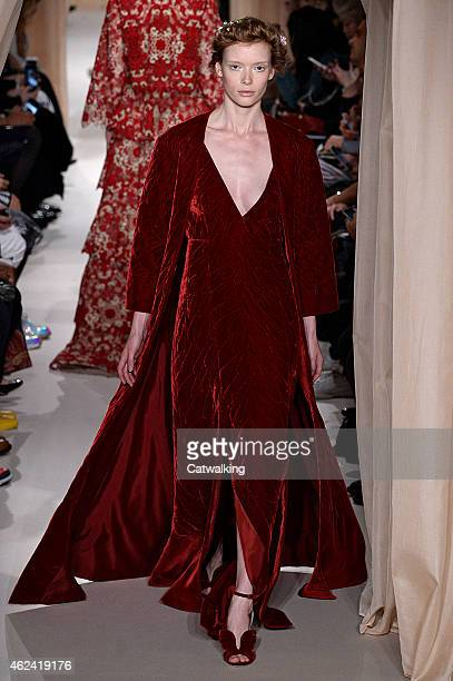 A model walks the runway at the Valentino Spring Summer 2015 fashion show during Paris Haute Couture Fashion Week on January 28 2015 in Paris France
