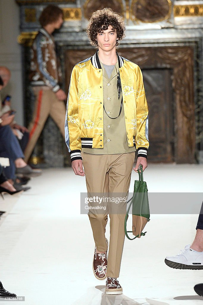 A model walks the runway at the Valentino Spring Summer 2016 fashion show during Paris Menswear Fashion Week on June 24, 2015 in Paris, France.
