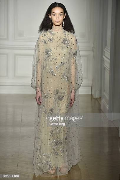 Model walks the runway at the Valentino Spring Summer 2017 fashion show during Paris Haute Couture Fashion Week on January 25, 2017 in Paris, France.