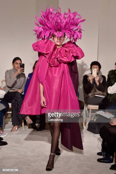 A model walks the runway at the Valentino Spring Summer 2018 fashion show during Paris Haute Couture Fashion Week on January 24 2018 in Paris France