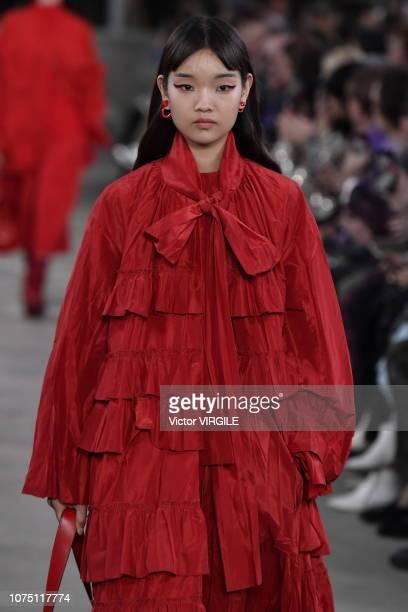 A model walks the runway at the Valentino TKY 2019 PreFall Collection at Terada Warehouse on November 27 2018 in Tokyo Japan