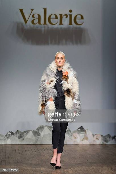 A model walks the runway at the Valerie show during Stockholm Fashion Week at Berns Hotel on February 2 2016 in Stockholm Sweden