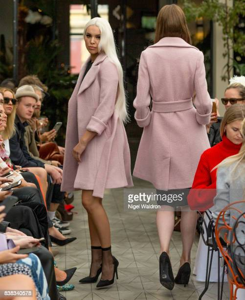 A model walks the runway at the Vanessa Rudjord x byMAGMALOU show during the Fashion Week Oslo Spring/Summer 2018 on August 24 2017 in Oslo Norway