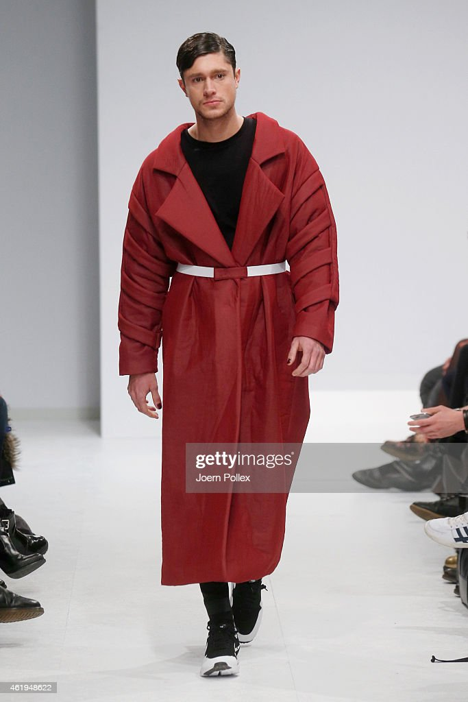 A model walks the runway at the Vektor show during the Mercedes-Benz Fashion Week Berlin Autumn/Winter 2015/16 at Brandenburg Gate on January 22, 2015 in Berlin, Germany.