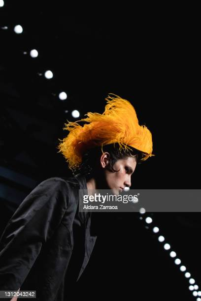 Model walks the runway at the Velásquez fashion show during Samsung EGO Mercedes Benz Fashion Week Madrid April 2021 at Ifema on April 11, 2021 in...