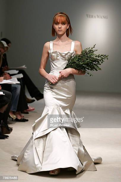 A model walks the runway at the Vera Wang bridal show on April 19 2007 in New York City