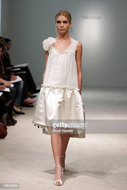 A model walks the runway at the Vera Wang bridal show on April 19 2007 in New York City