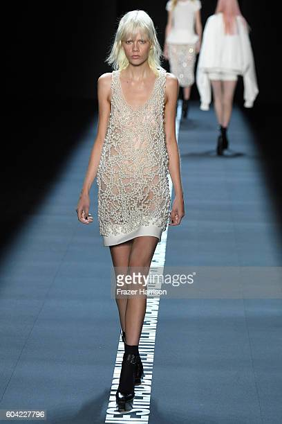 A model walks the runway at the Vera Wang Collection fashion show during New York Fashion Week The Shows at The Arc Skylight at Moynihan Station on...