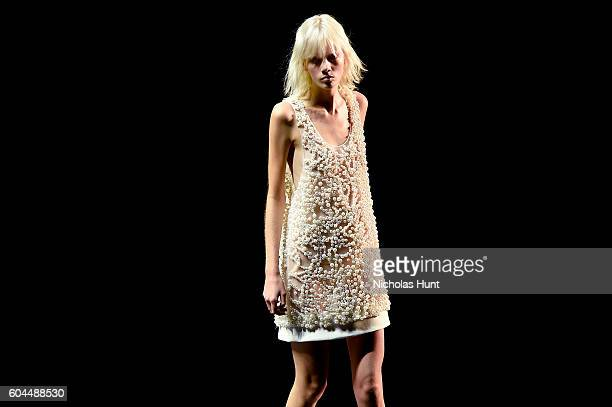 Model walks the runway at the Vera Wang Collection fashion show during New York Fashion Week The Shows at The Arc Skylight at Moynihan Station on...