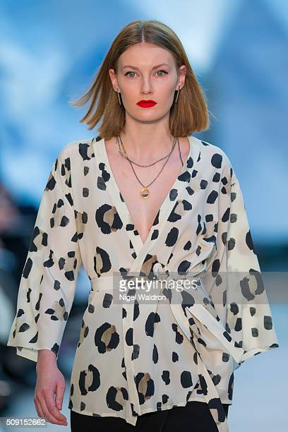 A model walks the runway at the Veronica B Vallenes show during the Fashion Week Oslo Autumn/Winter 2016/2017 at the Oslo Opera House on February 09...