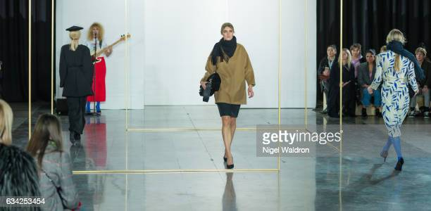 A model walks the runway at the Veronica B Vallenes show during the Fashion Week Oslo Autumn/Winter 2017 at the Munch Museum on February 07 2017 in...