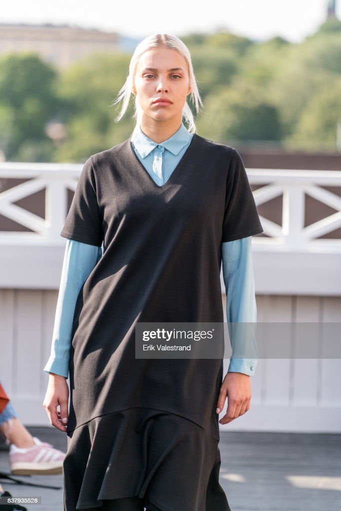 A model walks the runway at the Veronica B. Vallenes show during the Fashion Week Oslo on August 23, 2017 in Oslo, Norway.