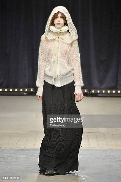 A model walks the runway at the Veronique Branquinho Autumn Winter 2016 fashion show during Paris Fashion Week on March 7 2016 in Paris France
