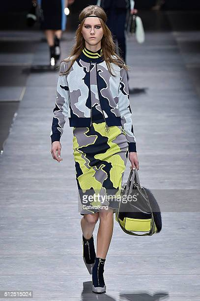 A model walks the runway at the Versace Autumn Winter 2016 fashion show during Milan Fashion Week on February 26 2016 in Milan Italy