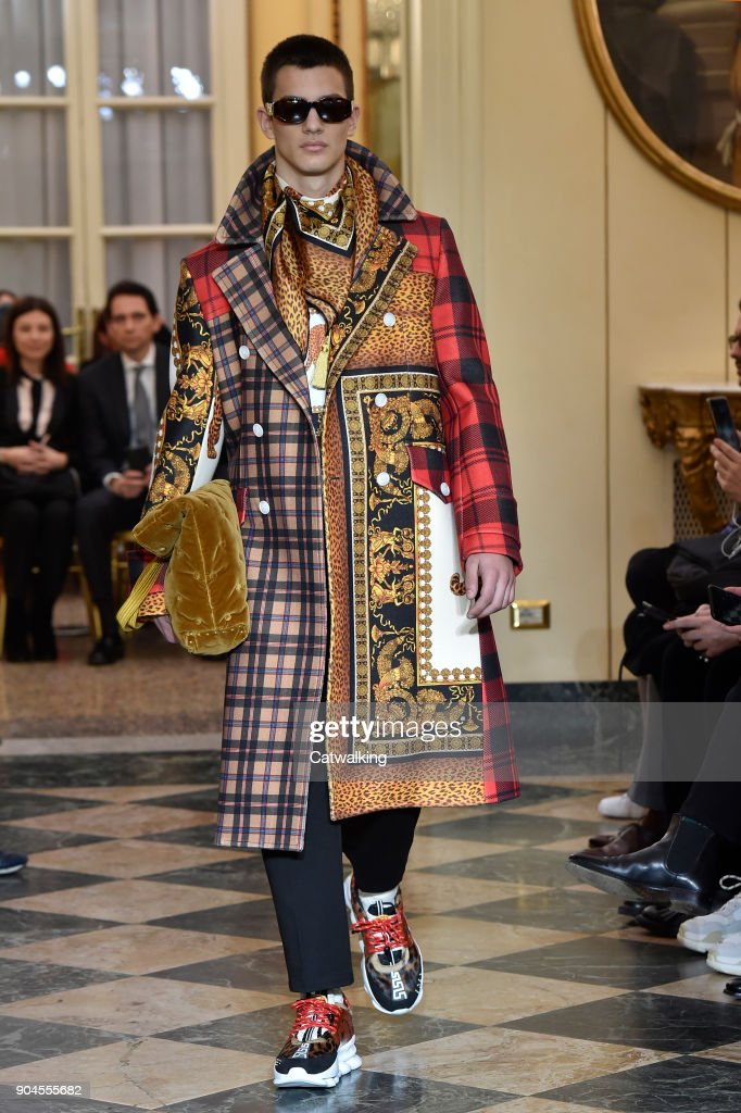 A model walks the runway at the Versace Autumn Winter 2018 fashion show during Milan Menswear Fashion Week on January 13, 2018 in Milan, Italy.