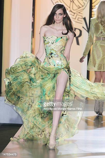 Model walks the runway at the Versace Haute-Couture Show as part of Paris Fashion Week Fall / Winter 2012/13 on July 1, 2012 in Paris, France.