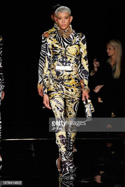 A model walks the runway at the Versace PreFall 2019 Collection at The American Stock Exchange on December 02 2018 in New York City