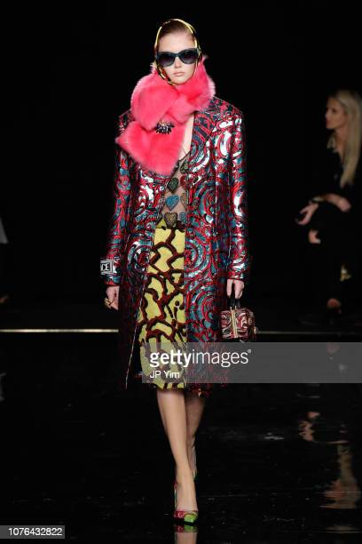 Model walks the runway at the Versace Pre-Fall 2019 Collection at The American Stock Exchange on December 02, 2018 in New York City.
