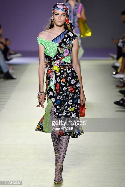 A model walks the runway at the Versace Ready to Wear fashion show during Milan Fashion Week Spring/Summer 2019 on September 21 2018 in Milan Italy