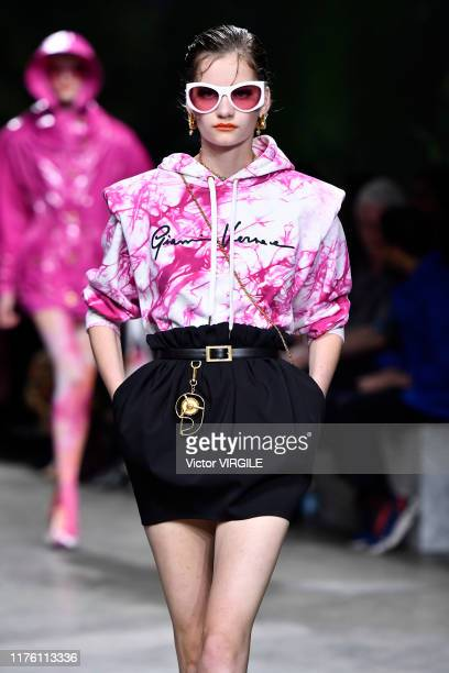 Model walks the runway at the Versace Ready to Wear fashion show during the Milan Fashion Week Spring/Summer 2020 on September 20, 2019 in Milan,...