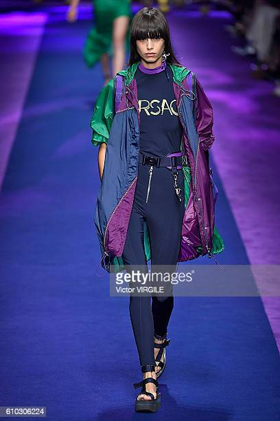 A model walks the runway at the Versace Ready to Wear show during Milan Fashion Week Spring/Summer 2017 on September 23 2016 in Milan Italy