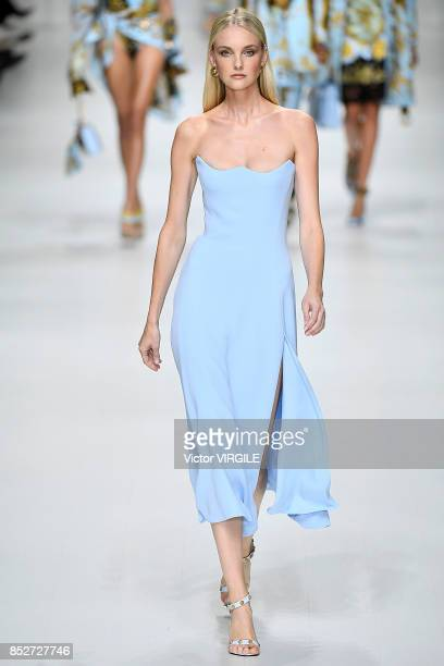 Model walks the runway at the Versace Ready to Wear Spring/Summer 2018 fashion show during Milan Fashion Week Spring/Summer 2018 on September 22,...