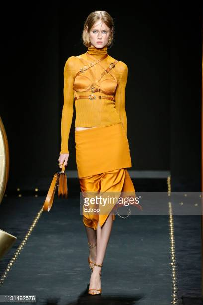 A model walks the runway at the Versace show at Milan Fashion Week Autumn/Winter 2019/20 on February 20 2019 in Milan Italy