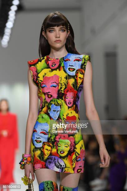 Model walks the runway at the Versace show during Milan Fashion Week Spring/Summer 2018 on September 22, 2017 in Milan, Italy.