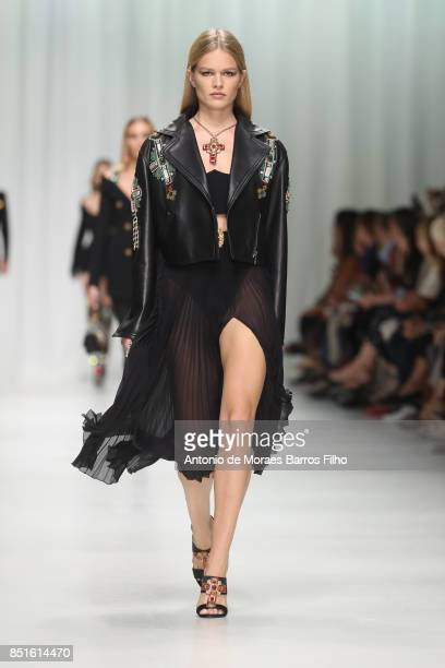 A model walks the runway at the Versace show during Milan Fashion Week Spring/Summer 2018 on September 22 2017 in Milan Italy