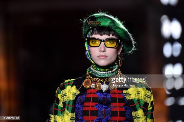 A model walks the runway at the Versace show during Milan Fashion Week Fall/Winter 2018/19 on February 23 2018 in Milan Italy