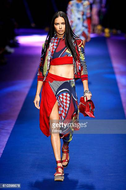A model walks the runway at the Versace show Milan Fashion Week Spring/Summer 2017 on September 23 2016 in Milan Italy