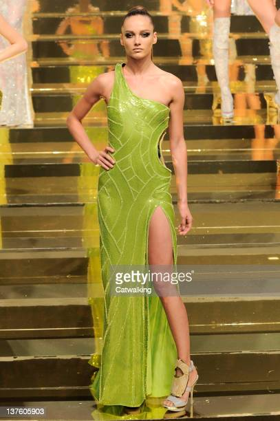 A model walks the runway at the Versace Spring Summer 2012 fashion show during Paris Haute Couture Fashion Week on January 23 2012 in Paris France
