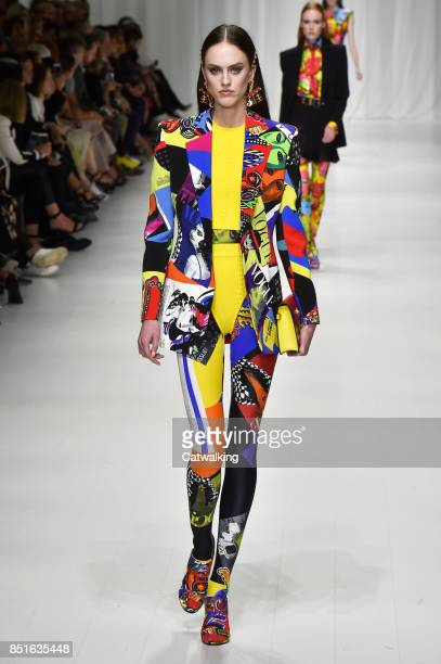A model walks the runway at the Versace Spring Summer 2018 fashion show during Milan Fashion Week on September 22 2017 in Milan Italy