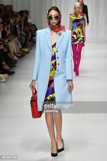 Model walks the runway at the Versace Spring Summer 2018 fashion show during Milan Fashion Week on September 22, 2017 in Milan, Italy.