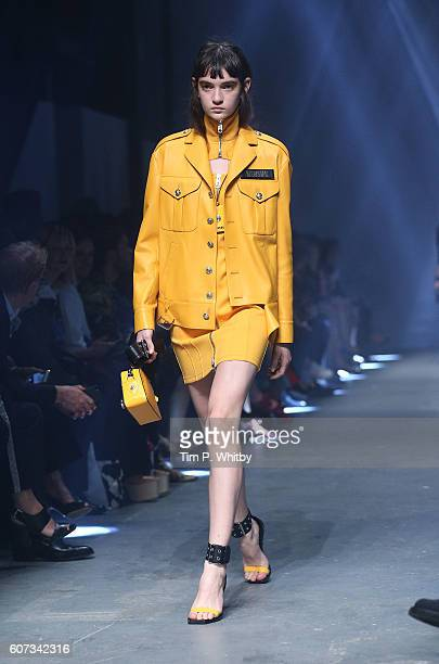 A model walks the runway at the VERSUS show during London Fashion Week Spring/Summer collections 2017 on September 17 2016 in London United Kingdom