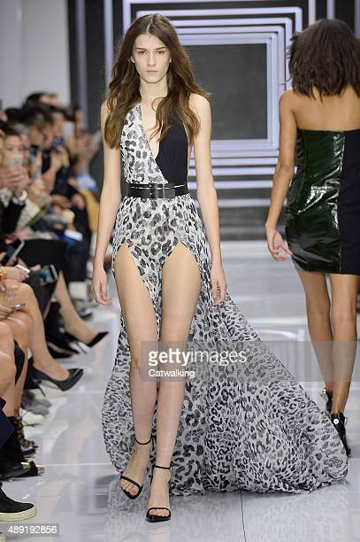 A model walks the runway at the Versus Spring Summer 2016 fashion show during London Fashion Week on September 19 2015 in London United Kingdom