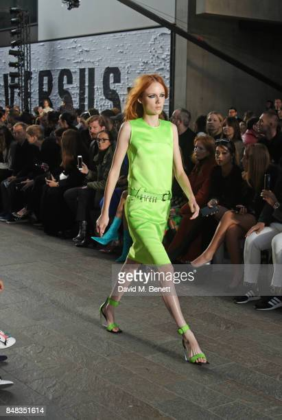 A model walks the runway at the Versus SS18 catwalk show during London Fashion Week September 2017 at Central St Martins on September 17 2017 in...