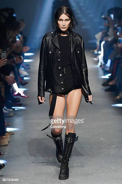 A model walks the runway at the Versus Versace Spring Summer 2017 fashion show during London Fashion Week on September 17 2016 in London United...