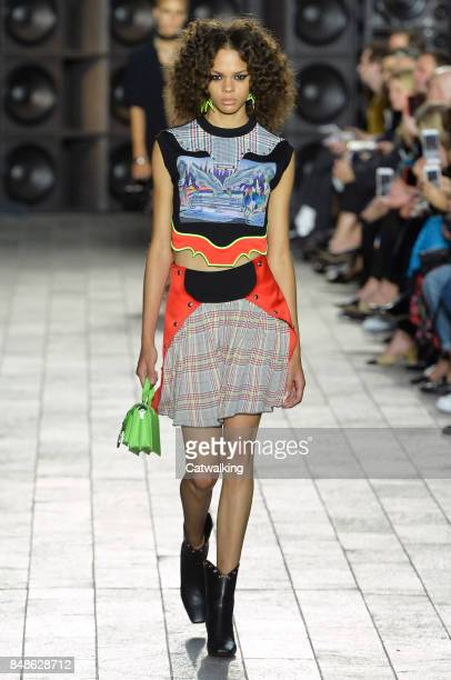 Model walks the runway at the Versus Versace Spring Summer 2018 fashion show during London Fashion Week on September 17, 2017 in London, United...