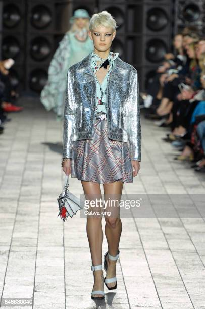 A model walks the runway at the Versus Versace Spring Summer 2018 fashion show during London Fashion Week on September 17 2017 in London United...