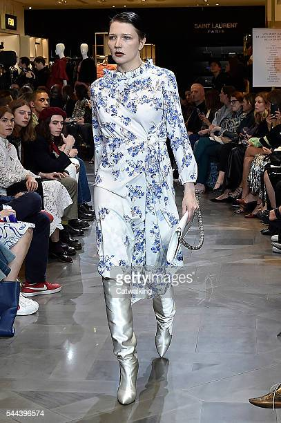 A model walks the runway at the Vetements Autumn Winter 2016 fashion show during Paris Haute Couture Fashion Week on July 3 2016 in Paris France