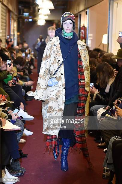 A model walks the runway at the Vetements Autumn Winter 2018 fashion show during Paris Menswear Fashion Week on January 19 2018 in Paris France